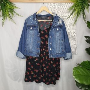 Brandy Melville Black Floral Babydoll Skate Dress